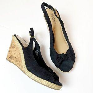 Seychelles Black Colada Cork Wedge Sandals 9.5M